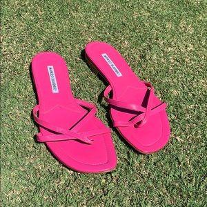 Pink Manolo Blahnik Flat Sandals. Size 39